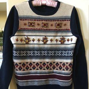 J.Crew Fair Isle Bejeweled sweater new with Box